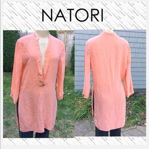 NATORI pale orange deep V side slit crepe tunic